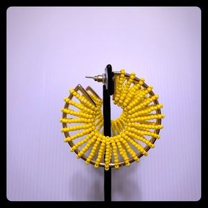 Seed Bead Wrapped Hoop Earrings Yellow
